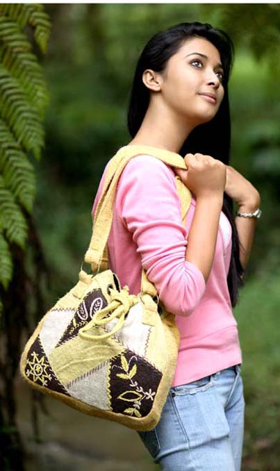 Hemp Floral Large Patch Handbag
