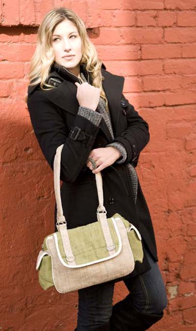 Hemp Handbag - Olive & Natural