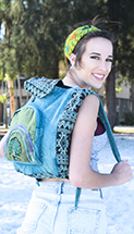 Teal tree of life backpack with large front pocket